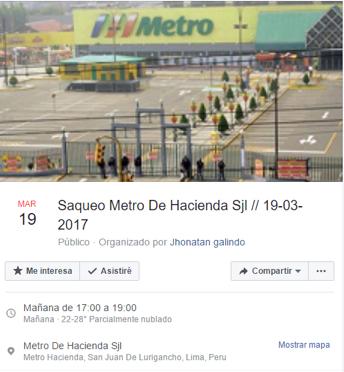 Llamado a la acción para saquear Metro de San Juan de Lurigancho